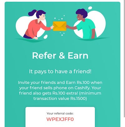 Cashify Referral code
