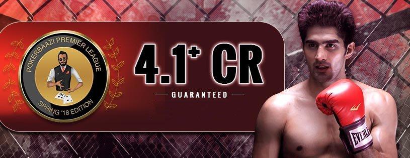 PokerBaazi Signup Code Earn 100% Bonus on cash Deposit - Vijender Singh holding a sign - Boxing glove