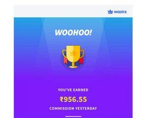 Wazirx referral earning alert