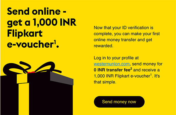 WesternUnion promo code for india